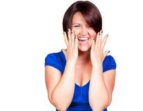 Sreaming и счастливая женщина Стоковые Изображения
