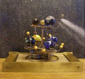 Steampunk Art Orrery With 8 Planets. Stock Photo