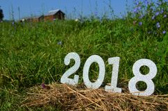 Srebna błyskotliwość liczy 2018 nowy rok tło Obrazy Stock