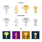 Srebna filiżanka dla drugi miejsca, złoto gra główna rolę na stojaku, filiżanka z gwiazdą, złocista filiżanka Nagrody i trofea us royalty ilustracja