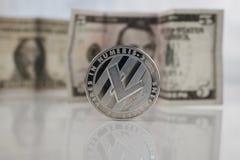 Srebna Litecoin moneta Fotografia Royalty Free