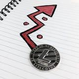 Srebna Litecoin moneta obraz stock