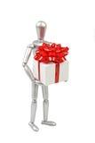 Srebna marionetka trzyma białego prezenta pudełko Obrazy Stock