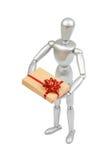 Srebna marionetka trzyma białego prezenta pudełko Obraz Royalty Free