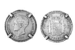 Srebna moneta Spain Obrazy Royalty Free