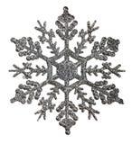 Srebna płatka śniegu kształta dekoracja isolted na bielu Obraz Stock
