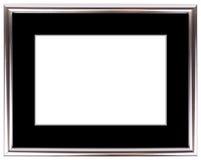 Srebna rocznik rama odizolowywająca na bielu Srebny ramowy prosty projekt Zdjęcia Royalty Free