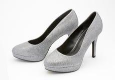 Srebna wysokość heeled partyjnych buty Obraz Stock