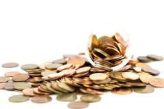 Srebne i miedziane monety Zdjęcia Stock