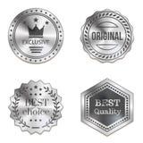 Srebne metal odznaki odizolowywać na białym tle Obrazy Royalty Free