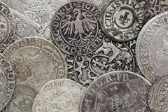 Srebne monety zdjęcia royalty free