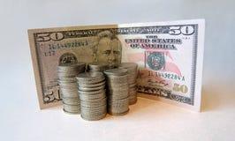 Srebne monety Fotografia Stock