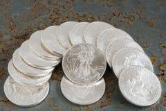 Srebne monety obrazy royalty free