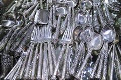 Srebne rzeczy, biżuteria i klejnoty przy Środkowym rynkiem, KAMBODŻA zdjęcie stock