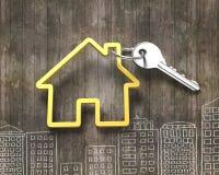 Srebnego klucza i domowego kształta kluczowy pierścionek Obrazy Royalty Free