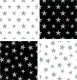 Srebnego koloru Duży & Mały Nautyczny Gwiazdowy Bezszwowy wzoru set Wyrównujący & Przypadkowy ilustracji