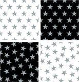 Srebnego koloru Nautycznej gwiazdy Wyrównujący & Przypadkowy Bezszwowy wzoru set ilustracji