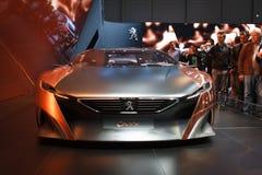 Srebnego Peugeot Onyksowego pojęcia Lemański Motorowy przedstawienie 2015 obrazy royalty free