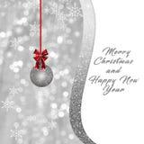 Srebni białe boże narodzenia, nowego roku tło, karta Obraz Stock