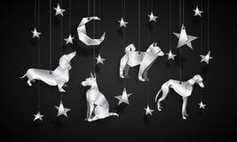 Srebni origami psy w nocnym niebie Chińska nowy rok ilustracja Obraz Royalty Free