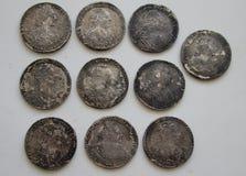 Srebni ruble Rosyjski imperium Obrazy Royalty Free