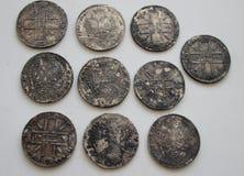 Srebni ruble Rosyjski imperium Zdjęcie Royalty Free
