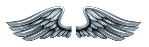 Srebni Stalowi metali skrzydła Zdjęcia Stock