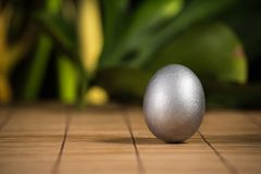 Srebni Wielkanocni jajka Zdjęcia Stock