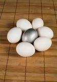 Srebni Wielkanocni jajka Obrazy Royalty Free