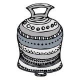 Srebny Ślubny Bell, statek Bell, Kościelny Bell Atrament Wektorowa ilustracja Odizolowywająca Na Białej tła Doodle kreskówce Zdjęcia Stock