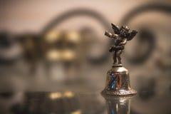 Srebny Bell Z aniołem Makro- obraz stock