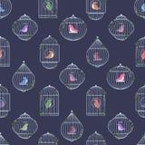 Srebny birdcages wzór ilustracja wektor