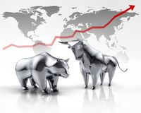 Srebny byk i niedźwiedź - pojęcia rynek papierów wartościowych ilustracji