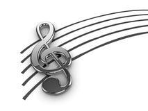 srebny clef treble Zdjęcie Stock
