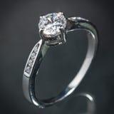 Srebny diamentowy pierścionek Fotografia Royalty Free