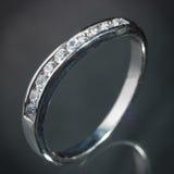 Srebny diamentowy pierścionek Zdjęcia Royalty Free