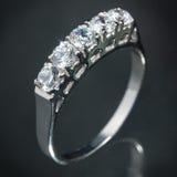 Srebny diamentowy pierścionek Zdjęcie Stock