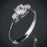 Srebny diamentowy pierścionek Zdjęcie Royalty Free