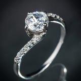 Srebny diamentowy pierścionek Obraz Royalty Free