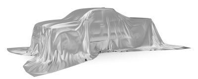 Srebny jedwab zakrywający furgonetki pojęcie ilustracja 3 d royalty ilustracja