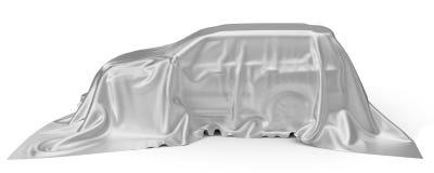 Srebny jedwab zakrywający SUV samochodu pojęcie ilustracja 3 d royalty ilustracja