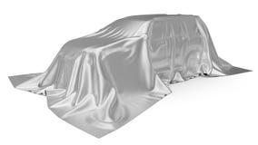 Srebny jedwab zakrywający SUV samochodu pojęcie ilustracja 3 d ilustracja wektor