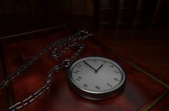 Srebny kieszeniowy zegarek na klasycznej książce ilustracja wektor