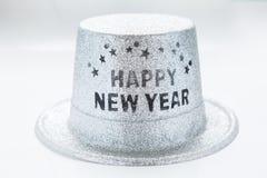Srebny kruszcowy szczęśliwy nowego roku przyjęcia kapelusz odizolowywający na białym backg Obrazy Royalty Free