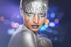Srebny makeup fotografia stock