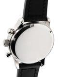 Srebny metalu wristwatch z czarną patką obrazy royalty free