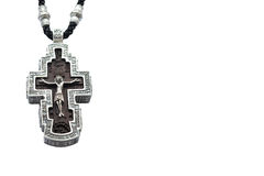 Srebny ortodoksyjny krzyż na białym tle fotografia stock