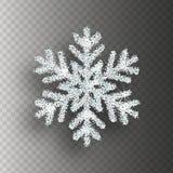 Srebny płatek śniegu z jaskrawą błyskotliwością na przejrzystym tle Święta dekorują odznaczenie domowych świeżych pomysłów Fotografia Royalty Free