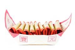 Srebny papier, złoto papier, joss papier dla Chińskiego świętowania z chińczykiem błogosławi słowo Zdjęcie Royalty Free