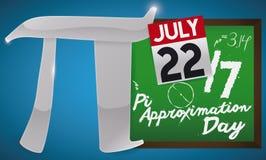 Srebny Pi symbol, Chalkboard i kalendarz dla Pi aproksymaci dnia, Wektorowa ilustracja Zdjęcie Stock
